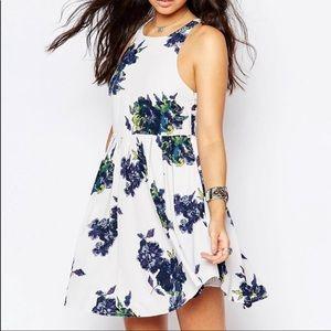 FREE PEOPLE Flutterby Blue Floral Dress Size 10